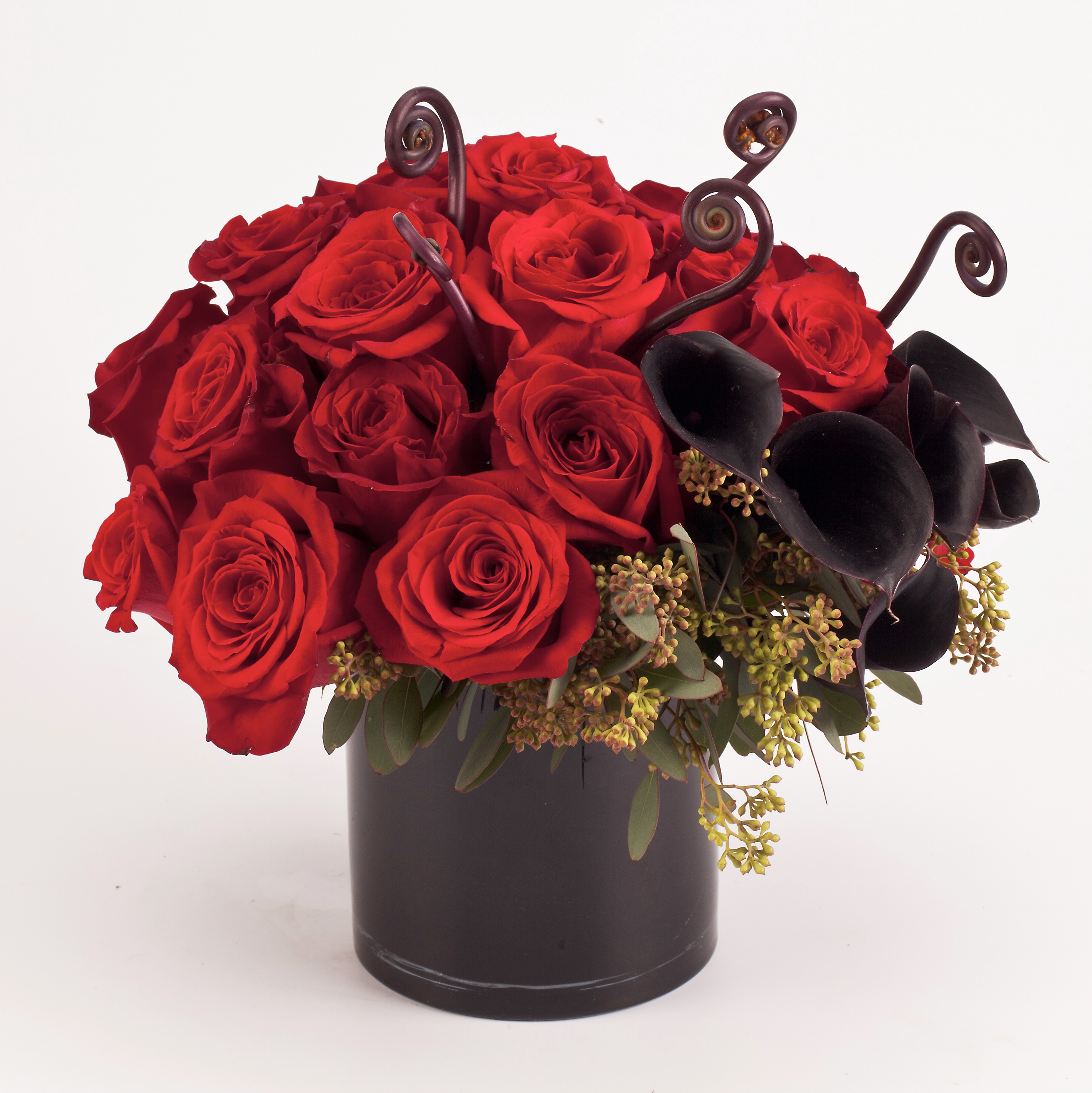This Black Bouquet Is Made With Calla Lilies And Ivory Stretch Lace The Used On Real Touch Lily Also Comes In